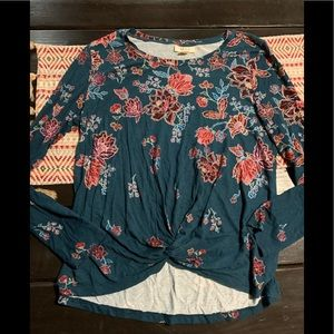Style & co floral longsleeve knot top small